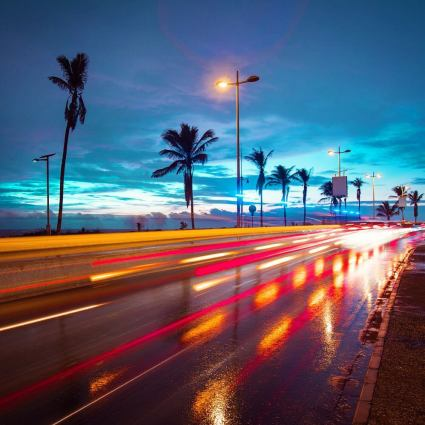 Dakars Corniche during the evening (photo found at astec.tumblr.com)